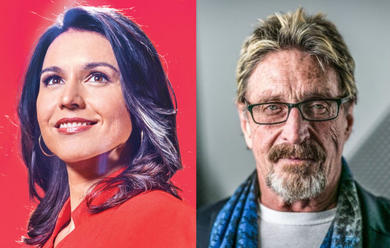 Tulsi Gabbard, John McAfee Bitcoin Cryptocurrency